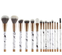 Load image into Gallery viewer, Marble Make Up Brush Set- 15 pc