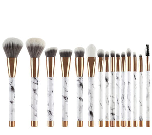 Marble Make Up Brush Set- 15 pc