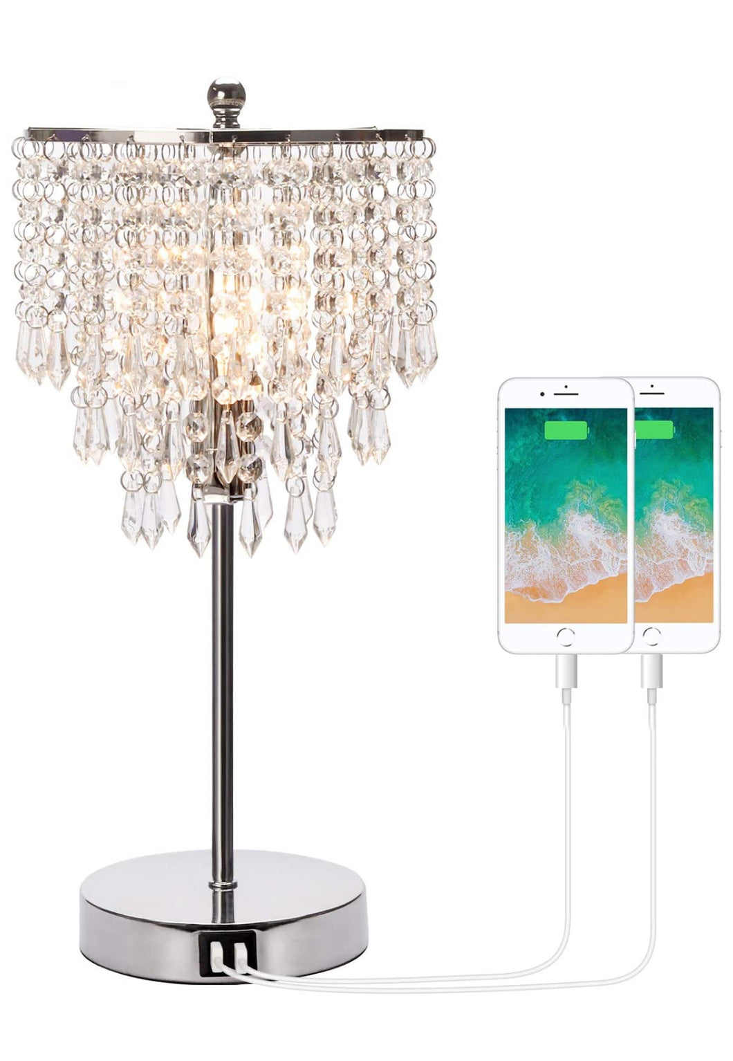 Crystal Bedside Lamp With USB Charging Ports
