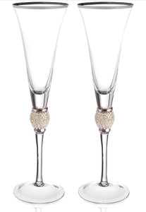 Crystal Ball Toasting Glasses -Wedding- Set of 2