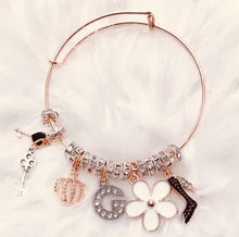 Load image into Gallery viewer, ROSE GOLD- bangle charm bracelet - miscellaneous charms