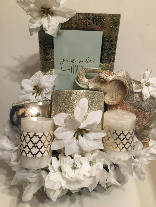 Fabulous Gold and White basket
