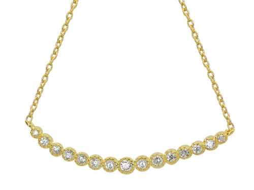 Golden Princess Smile Curved Bar Necklace