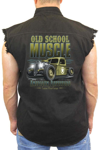Men's Sleeveless Denim Shirt Old School Muscle