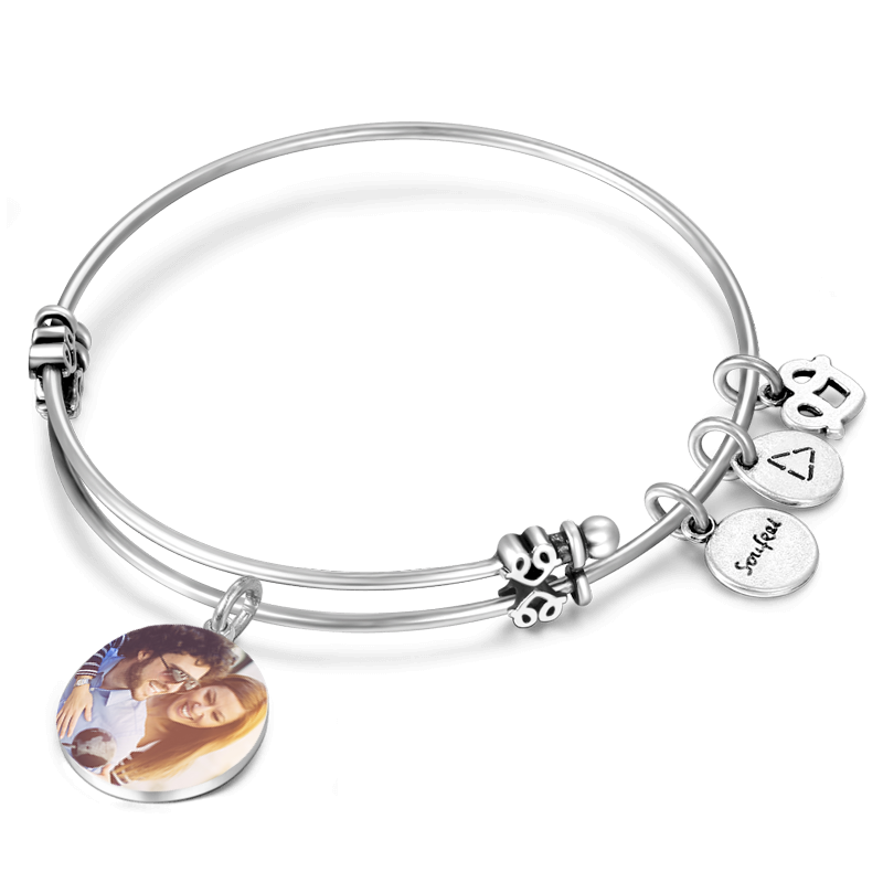 SILVER - bangle charm bracelet - miscellaneous charms