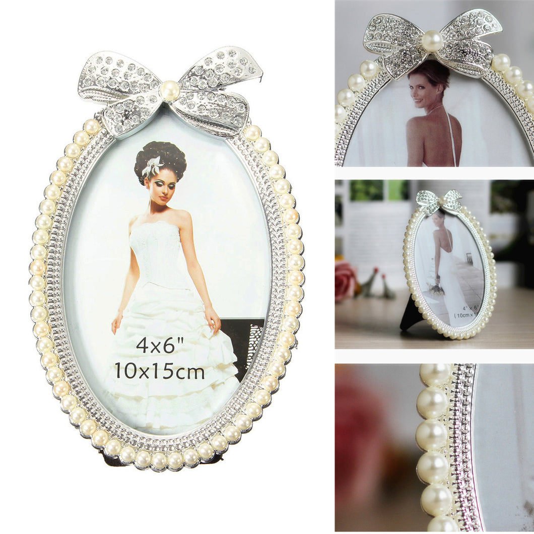 6Inch Oval Photo Picture Frame Crystal Bow Pearl