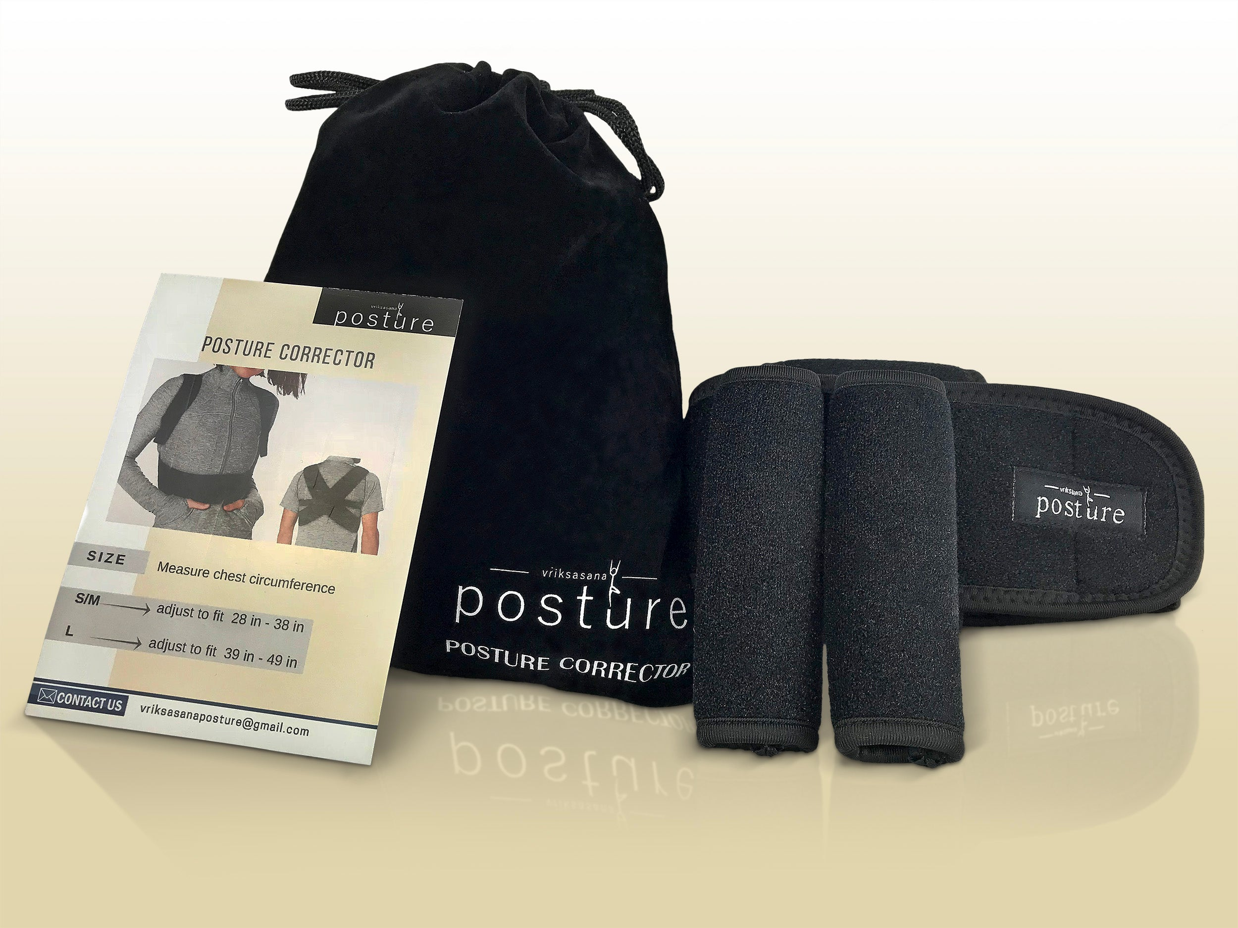 Posture corrector in a velvet pouch packaging