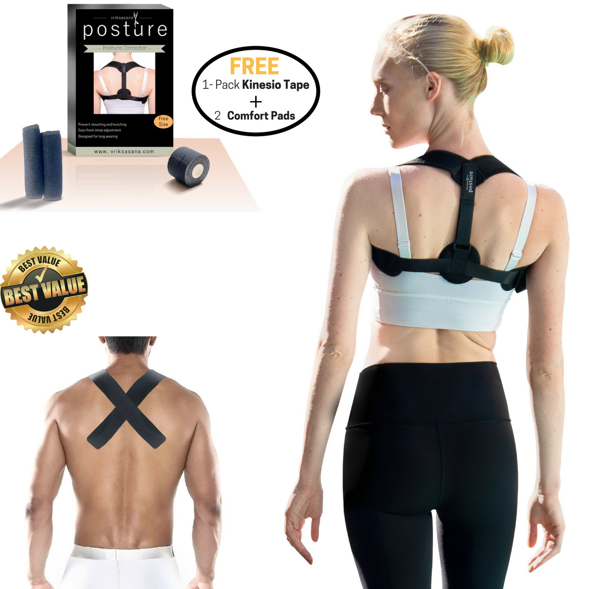 "Vriksasana Posture Corrector with 2"" Kinesiology Tape"