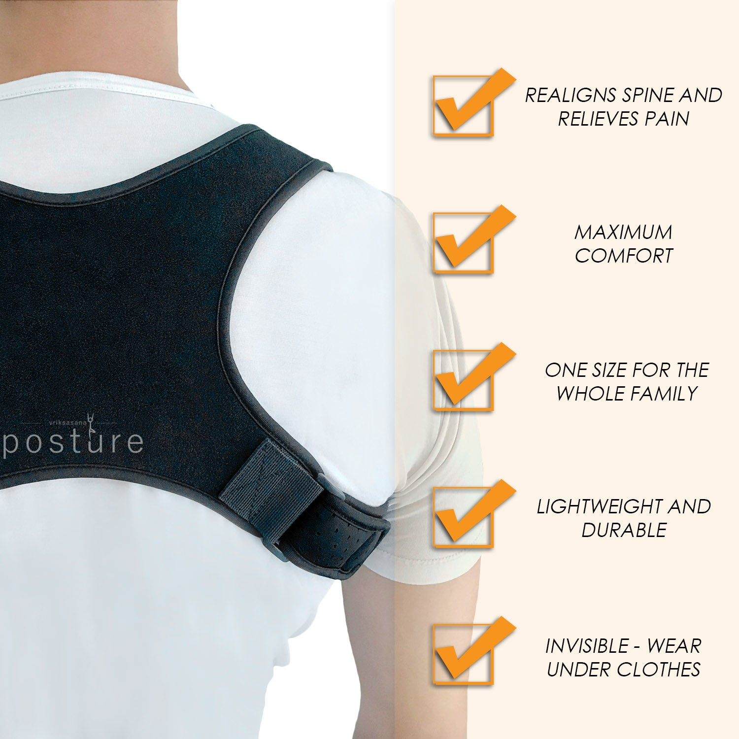 Comfortable back brace that helps relieve back pain and adjust posture and