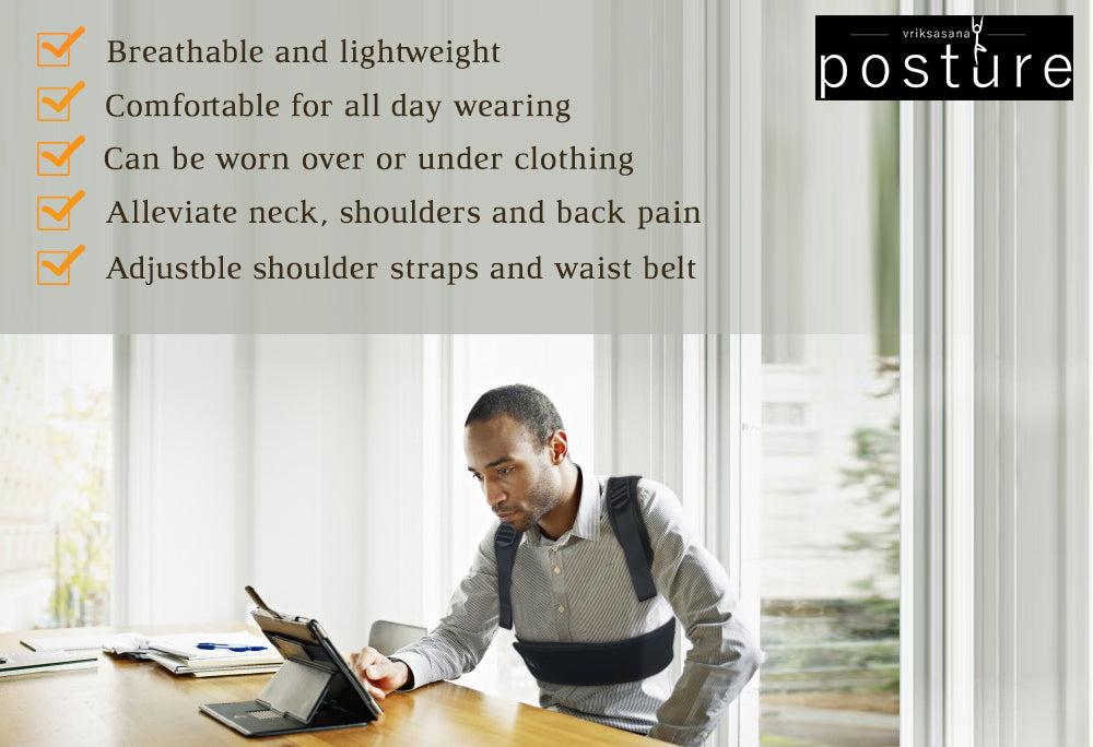 Comfortable upper and middle back brace for office to prevent slouching and rounded shoulder