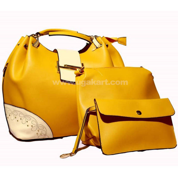 3Pcs Yellow and White Hand Bag