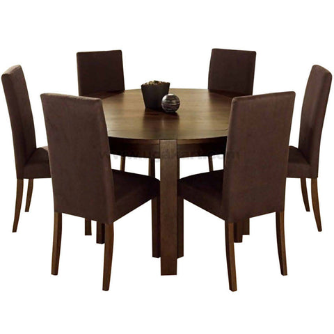 Dinning Round Wooden Table With 6 Chairs-Brown