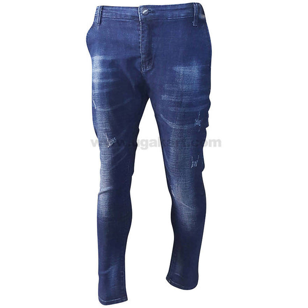 Blue Semi Ripped Jeans For Mens