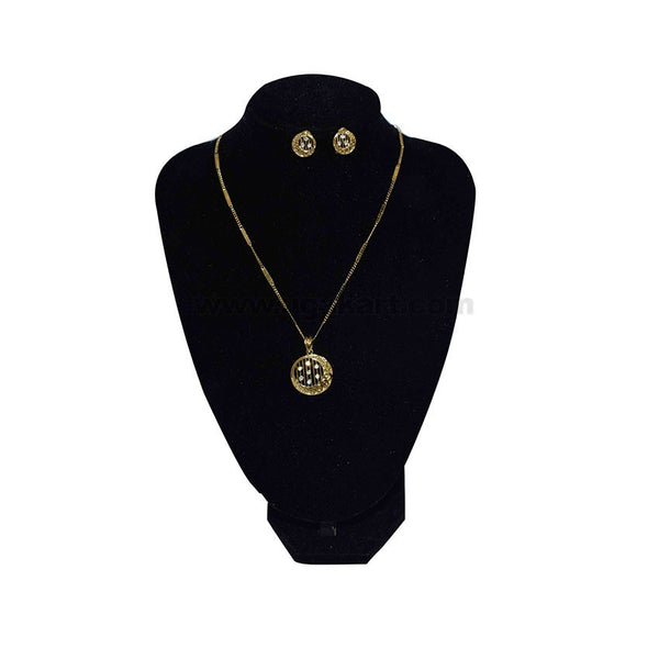Women's Gold Necklace with Earrings