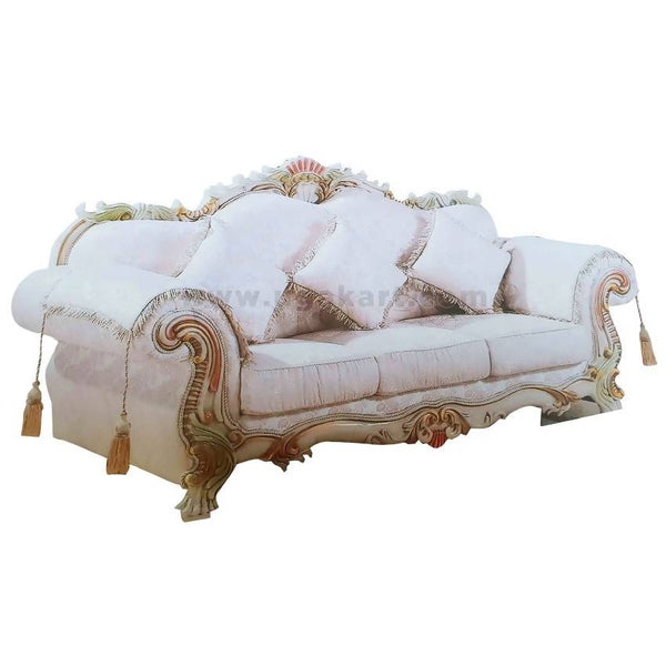 5 Seaters White Wooden Sofa High Density With Fiber Pillow Cushions (Size 3-2-1)