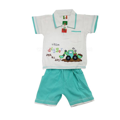 2 Piece Little Digger Print - Tshirt & Pant (0-2 Yr)
