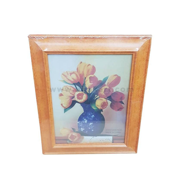 "Photo Frame Light Brown With Flower-8""/12""-( 20/30Cm )"