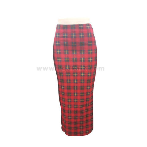 Checked Red And Black Long Ladies Skirt