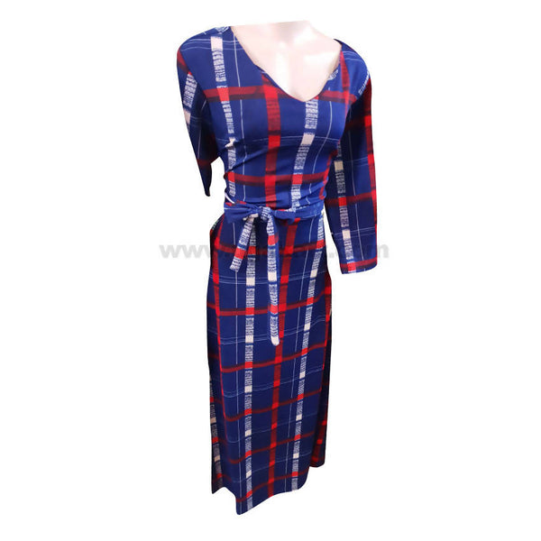 Blue and Red White Checked Long Dresses-Size M,L,XL,XXL,XXXL