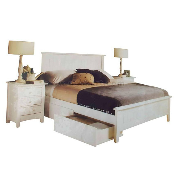 White Wooden Double Bed With 2 Draw