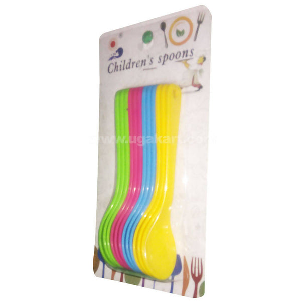Plastic Soft Tip Spoons (Multicolor, Pack of 6) For Kids