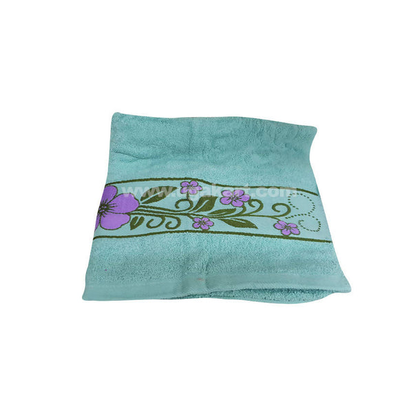 Bath Towel Sea Green With Flowered-Size 70X140Cm