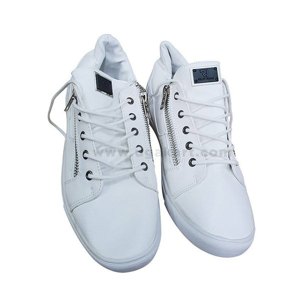 Mens White Zipped Shoes - White