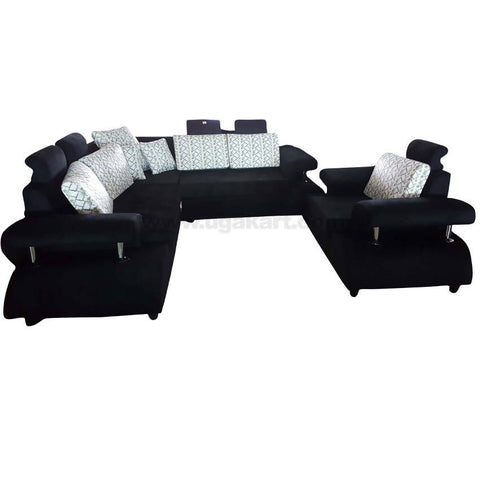 6 Seater Black Sofa With White Cusion