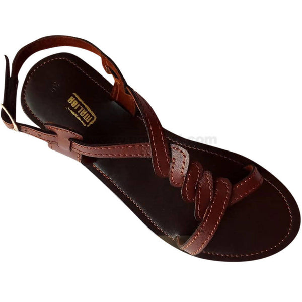 Brown Classic Leather Strap Sandal For Women
