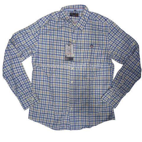 Dull White Full Sleeve checkered Regular Fit Shirt For Men