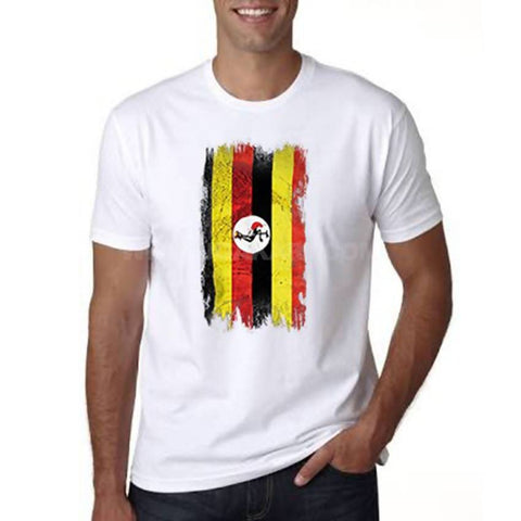 Uganda Flag Designed Men's T-Shirt - White