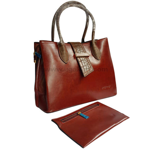 Brown With Dark Khaki Handles 2Pcs Hand Bag