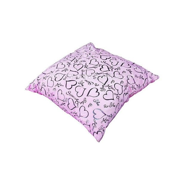Sweet Heart Print Pillowcase With Cushion In Pink