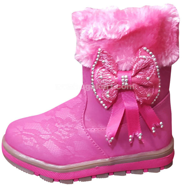 Dark Pink Ankle Snow Boots For Kids
