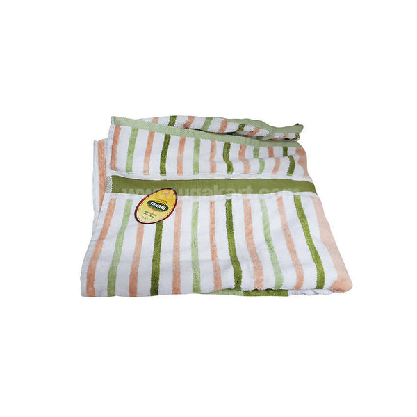 Bath Towel Green,Peach And White Strips-Size 70X140Cm