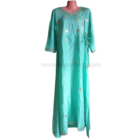 Sky Blue Free Round Long Dress For Womens