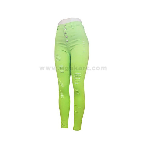 Distressed Light Green Ladies Pant