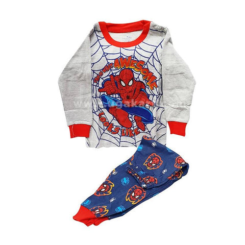White And Blue Spider-Man Print Kids Dress