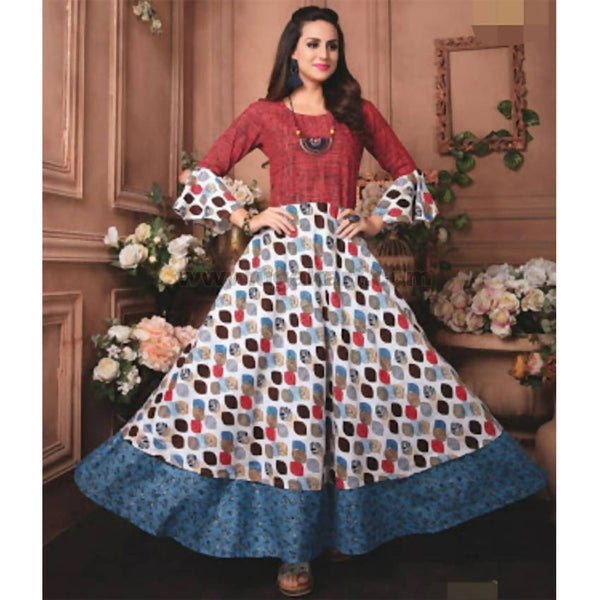 One pc long dress cotton material with necklace_XXL(42)