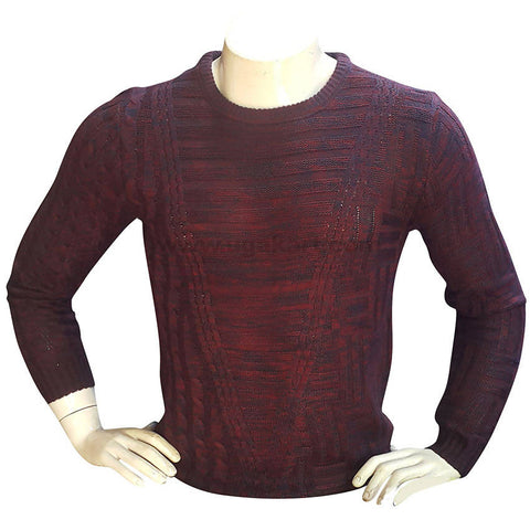 Maroon Self Design Rounded Neck Sweater For Mens XL