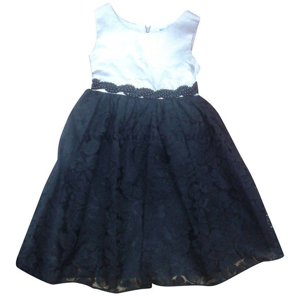 White & Black Girls Dress (4-10yrs)