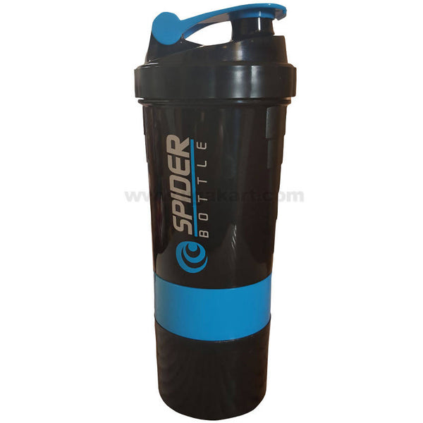 SPIDER BOTTLE Protien Shaker Gym Bottle_black and Blue (500ML)