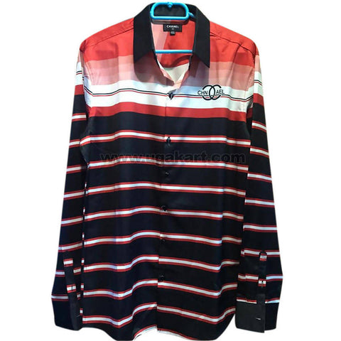 Men's Orange & Black Striped Long Sleeve Shirt
