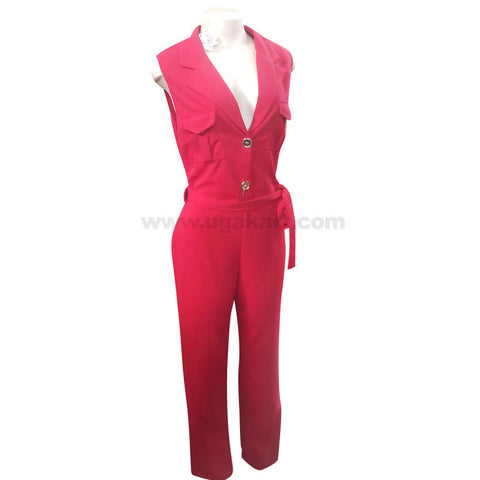 Women's Button Up Red Jump Suit