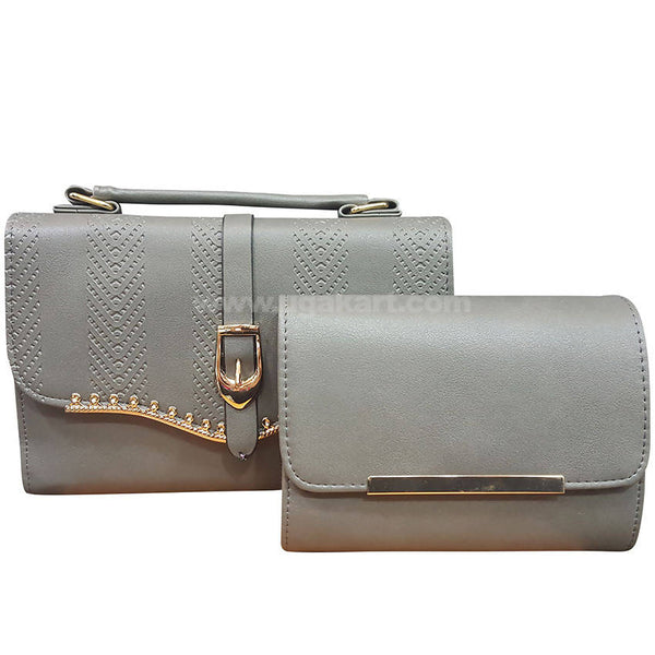Set of Two Grey Ladies Hand Bag with Wallet