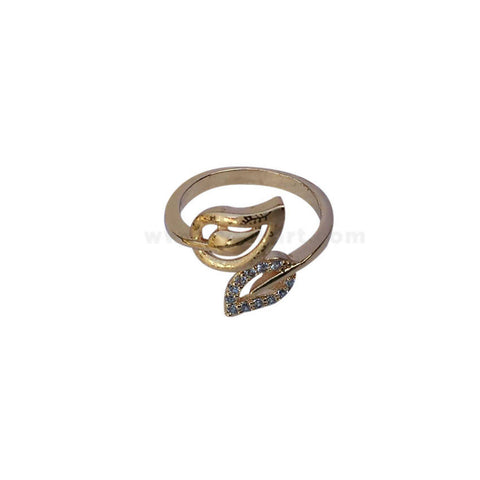 Leaf Gold Plated With Stone Finger Ring