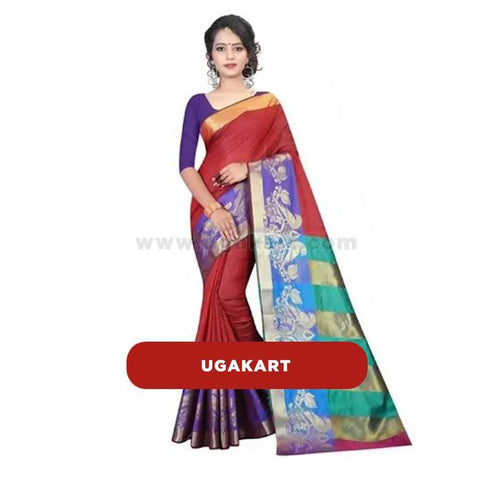 Maroon Cotton Saree With Blue Blouse