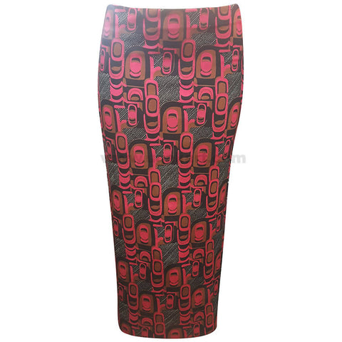 Red and Black Design Skirt (Size : S,M,L,XL)
