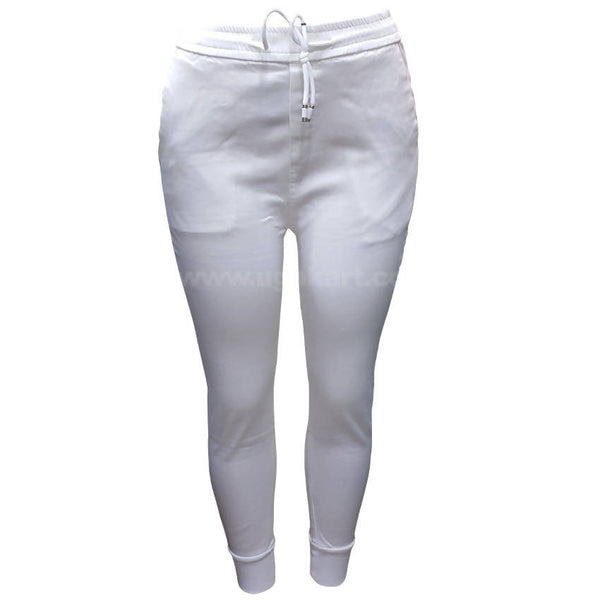 White Fit Pant With Elastic For Women