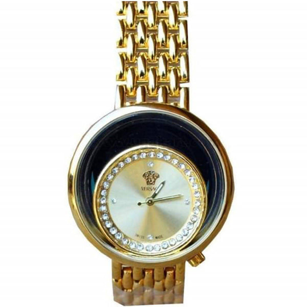 Gold Rounded Dial Steel Analog Women's Watch